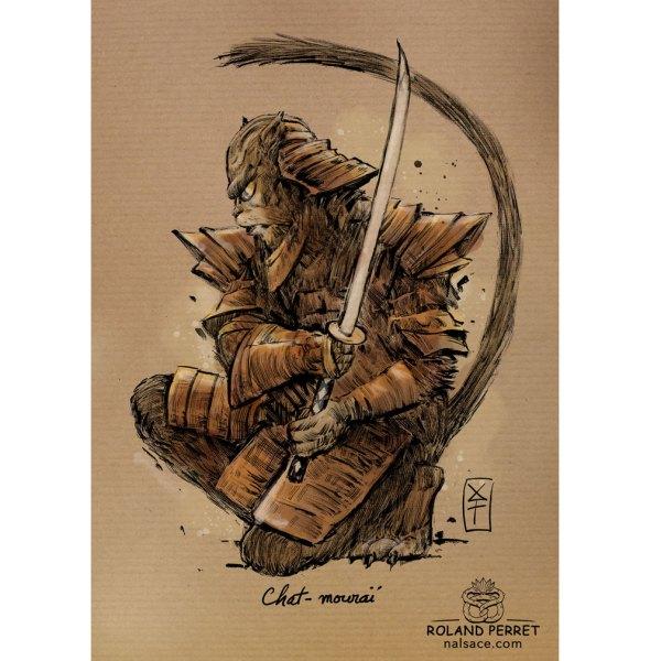Dessin de chat en samouraï par Roland Perret, jeu du Chat-llenge.