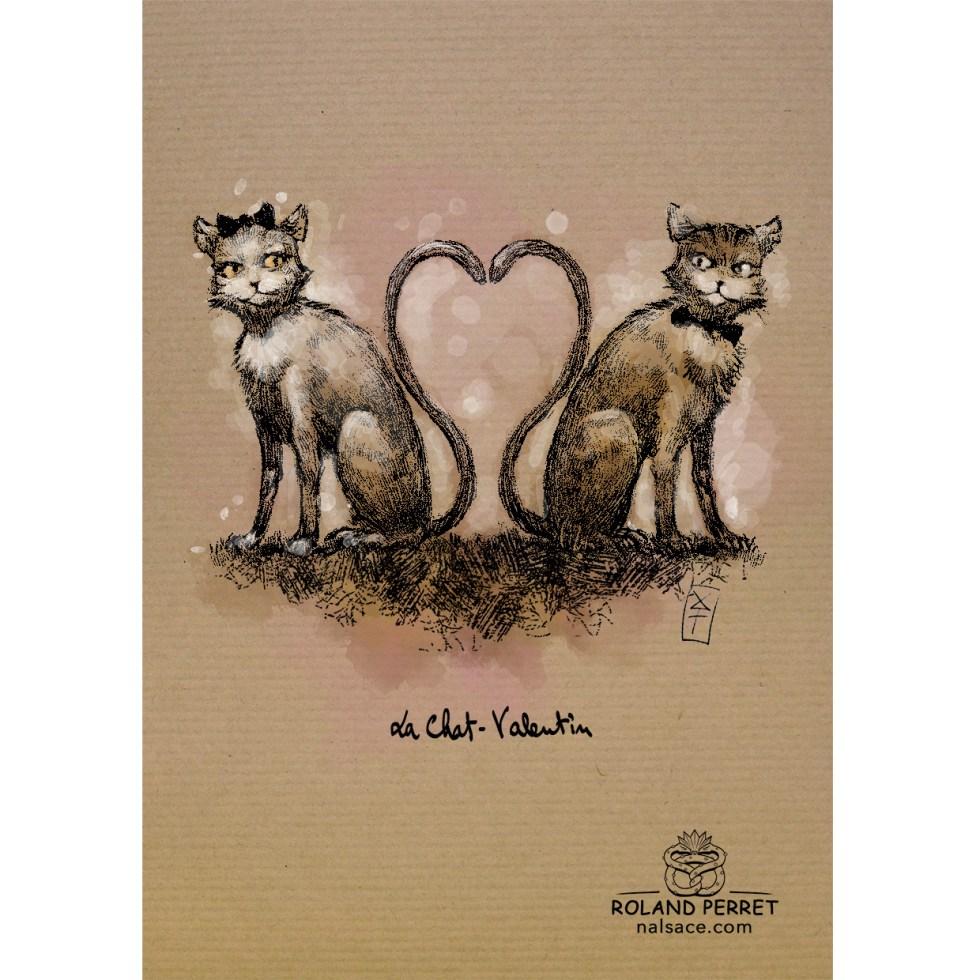 Dessin de chats amoureux pour la St Valentin par Roland Perret, jeu du Chat-llenge.