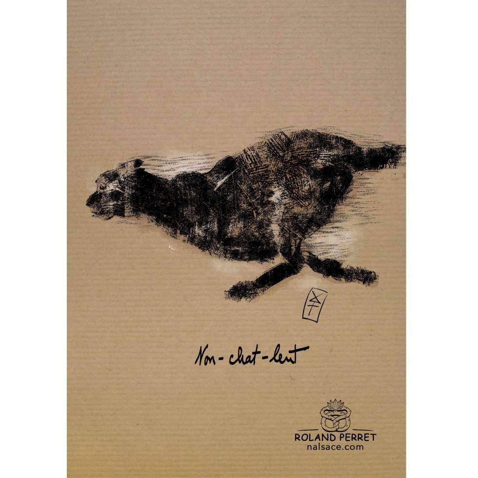 Dessin de chat non-chat-lent plutôt rapide par Roland Perret, jeu du Chat-llenge. www.nalsace.com