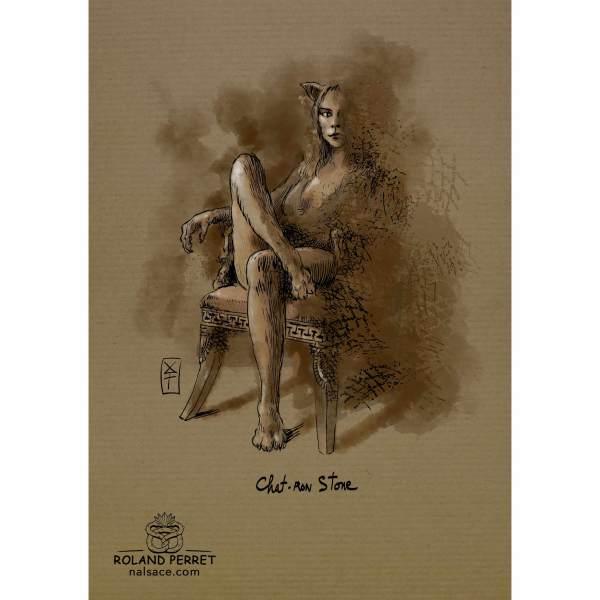 Dessin de chat en Sharon Stone par Roland Perret, jeu du Chat-llenge. www.nalsace.com