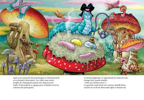Alice au pays de la Nalsace - la chenille sur lit de choucroute
