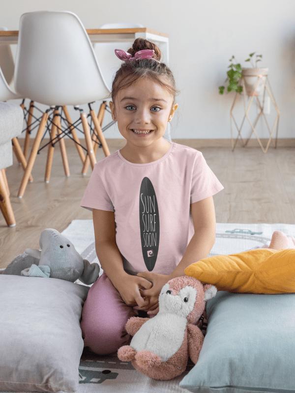 Kinder Shirt Mädchen Sun Surf Soon rosa