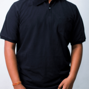 Men's Black Short Sleeve Polo With Chest Pocket