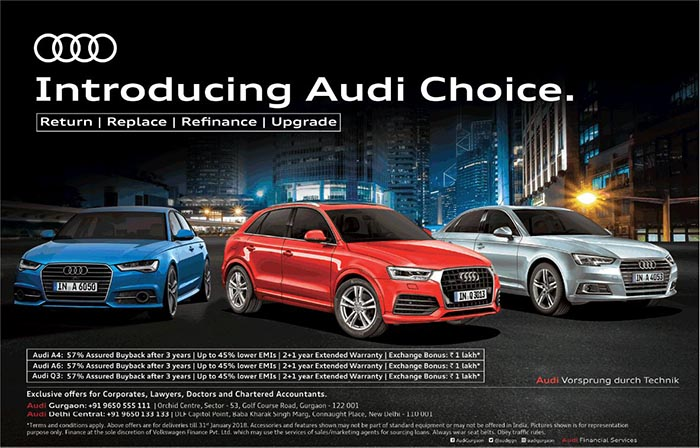 Audi Choice Assured Buyback Exchange Bonus Of Rs 1 Lakh Amp Lower Emis On A4 A6 And Q3