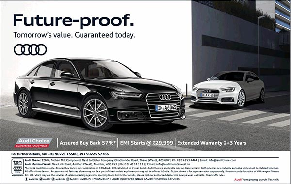 Audi Choice: Buyback of 57%, EMI at Rs. 29,999 & extended warranty