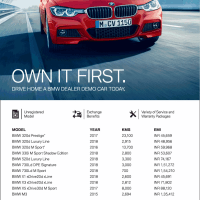 BMW dealer demo cars for sale: 3 Series, 5 Series, 7 Series, X1, X3, X5 & M3