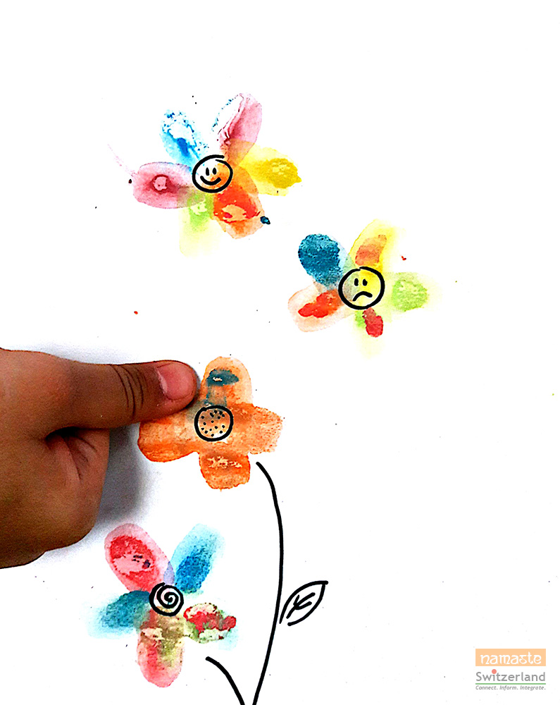 Painting flowers with thumbprints