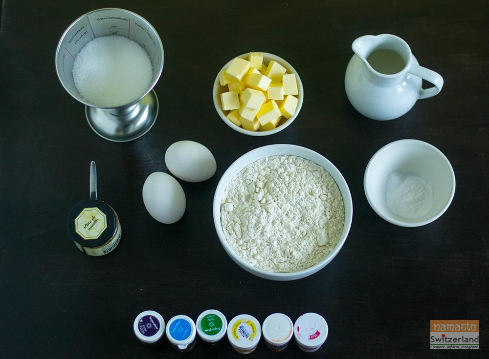 Ingredients for Rainbow cake