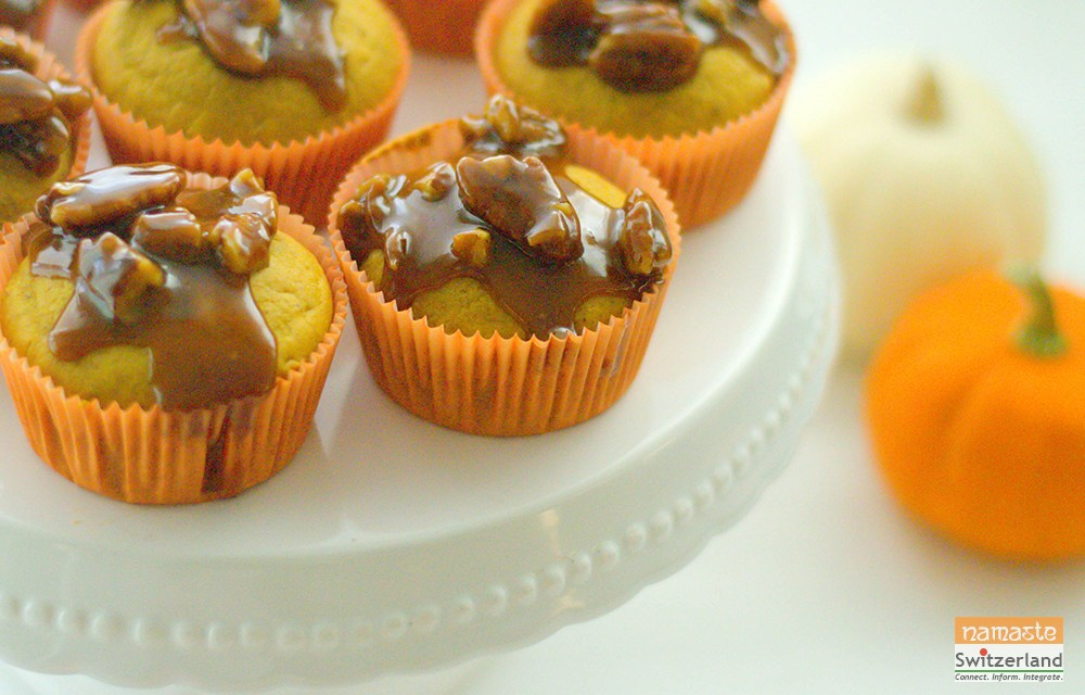 Brown butter pumpkin cupcakes with salted caramel topping