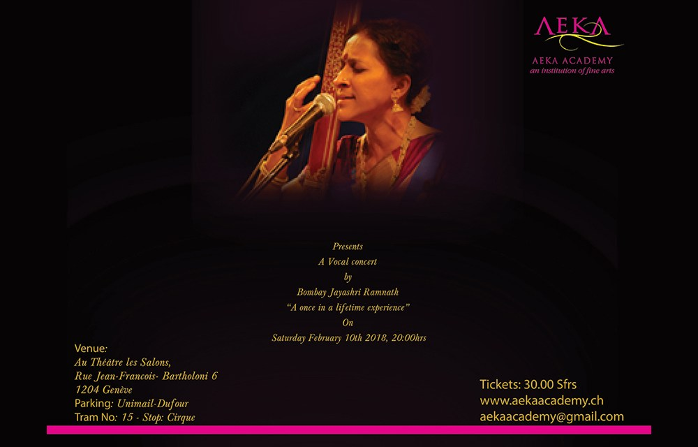 Aeka Academy presents a Vocal Concert by Bombay Jayashri Ramnath