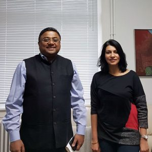Photo of Indian Ambassador H.E. Sibi George with Aradhna Sethi