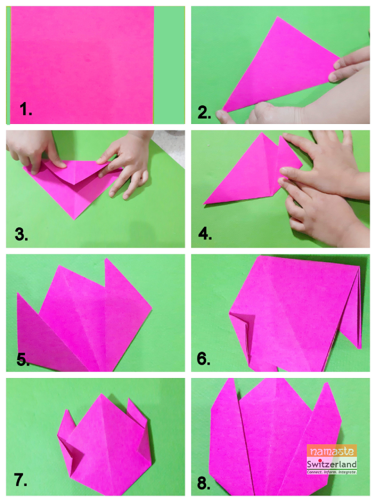 Step 2 of how to make Origami Tulips