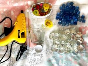 Materials needed for making the flat bead tea light holder