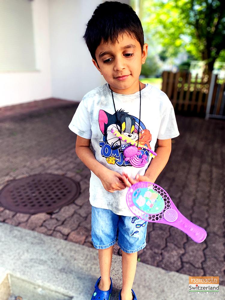 Photo of Vantika's son Abhay wearing the Chewlery