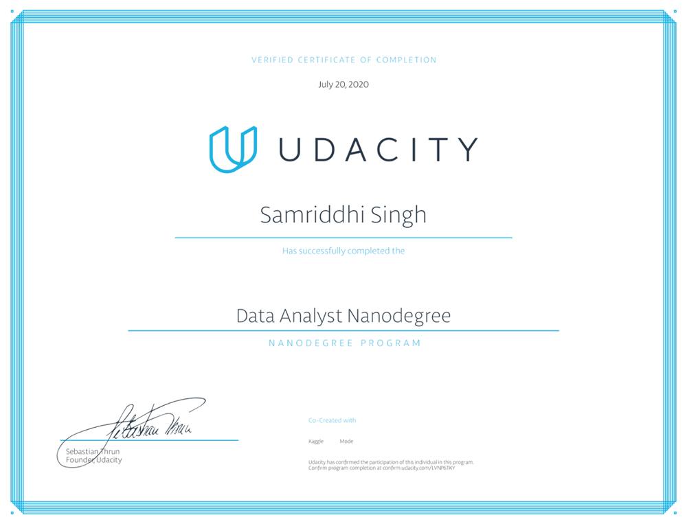 Photo of Samriddhi Singh's Udacity certificate