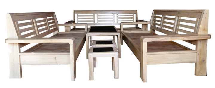 Sofa Set 333 Wang White Wood Nine Seater with Center Table ...