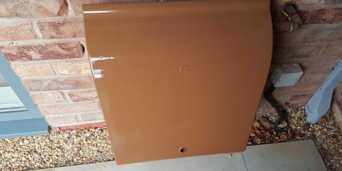 GAS METER BOX BRICK ACID STAIN REPAIR AFTER
