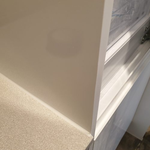 DAMAGED GLOSS WHITE KITCHEN END PANEL CHIP REPAIR CUPBOARD DOOR AFTER
