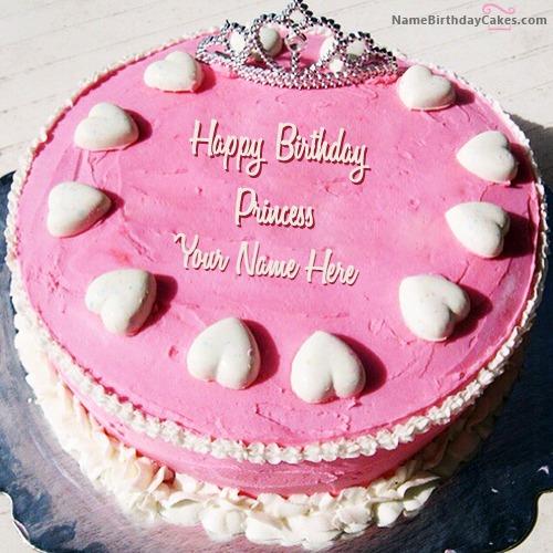 Princess Birthday Cake For Girls With Name