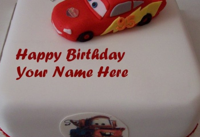 Car Birthday Cake For Kids With Name