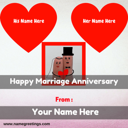 Write Couple Name On Happy Marriage Anniversary Greeting Card