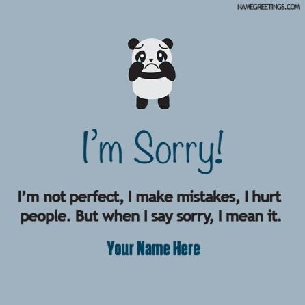 i'm sorry name card