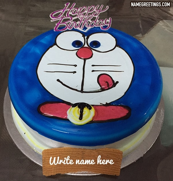 Pleasing Write Name On Doraemon Happy Birthday Cake For A Kid Funny Birthday Cards Online Eattedamsfinfo
