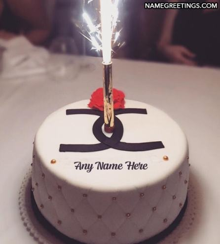 name birthday cake with sparklers