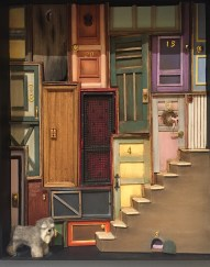 """NAME Member, Cindy Diamond created this piece entitled, """"Which Door?""""."""
