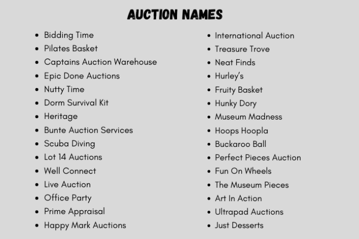 Auction Names