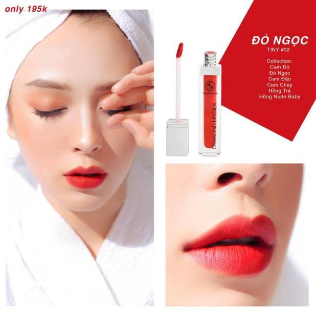 son kem diamond lipstick màu #02 đỏ ngọc