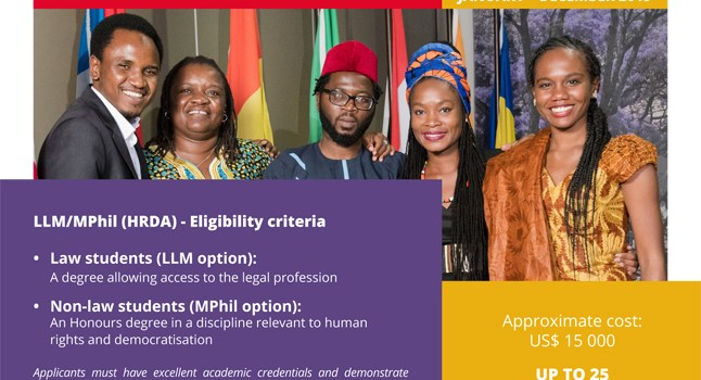 Class of 2019 – LLM/MPhil Human Rights and Democratisation in Africa ( Fully Funded to the Centre for Human Rights University of Pretoria)