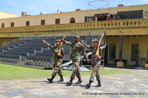 Soldiers from the Cape Town Highlanders rehearse their march