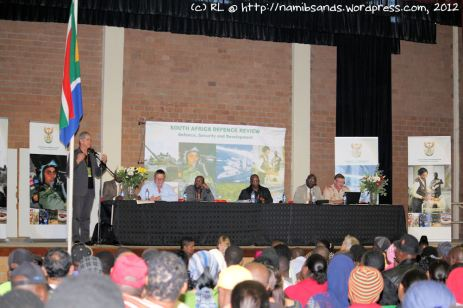 Mr Roelf Meyer with some of the committee members on stage field some difficult questions from the community