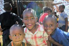 Little ones having fun climbing all over the Mamba and the Casspir