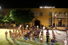 The massed military bands together with the pipes and drums