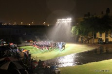 Massed pipes and drums - getting absolutely soaked!