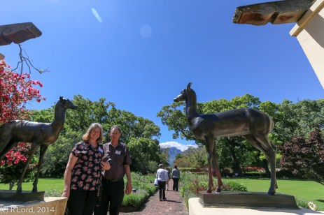 Max and Glynnis next to the bronze deer