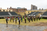 The massed pipes and drums practice their entrance and exit together with the massed military bands