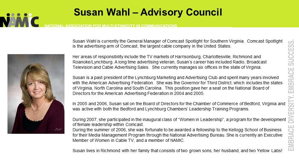 Meet Susan Wahl – Namic Virginia