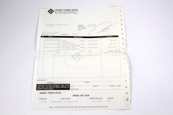 1997年香港通話明細書