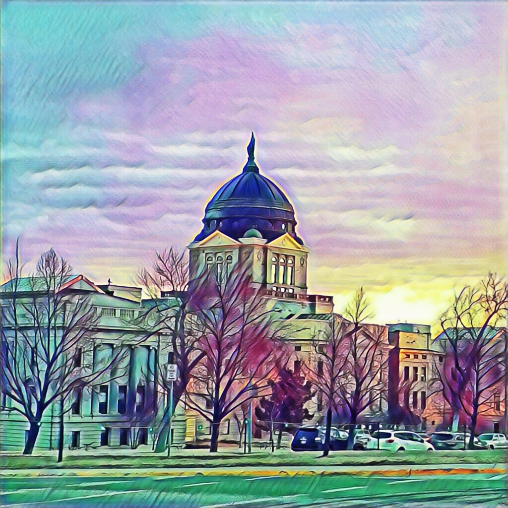 Painting-style Image of Montana Capitol