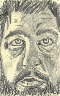 Self-portrait of Elliott Neyme, gray pencil drawing of a close up of a man's face with a relaxed expression.
