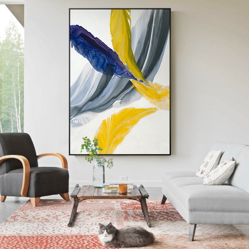 Abstract Colorful Feather Canvas Wall Art Paintings For Living Room Bedroom  Posters And Prints Wall Poster Pop Art Home Decor