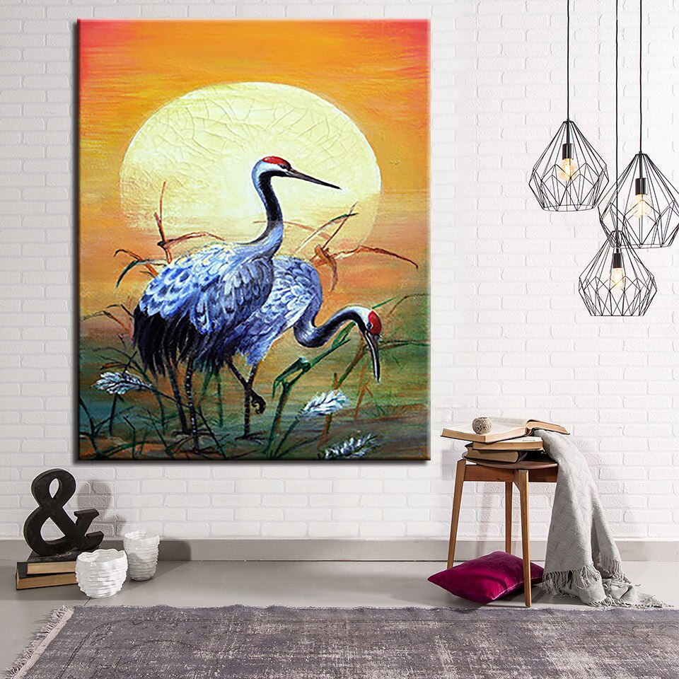 Red Crowned Crane Diy Painting By Numbers Kits Drawing Oil Pictures Wall Art Hand Paint Coloring Sunset Birds Scenery Home Decor Nana S Corner Beauty Cosmetic
