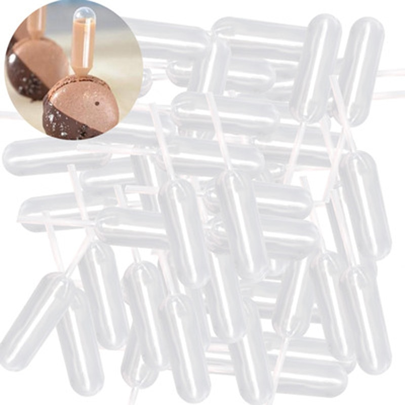 50Pcs Cake Jelly Dropper Straw Disposable Injector Cupcake Dessert Baking Tool