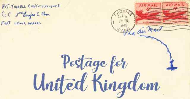 Postage To The United Kingdom First