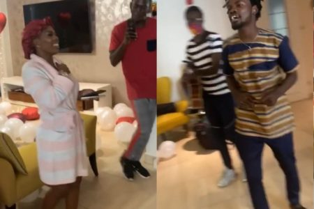 Fameye surprises Nana Aba Anamoah on her birthday