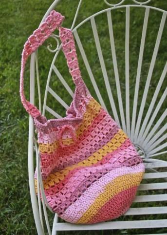 Boho Crochet Market Bag Free Pattern Caron Cotton Cake