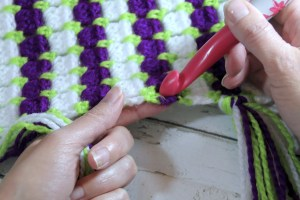 Insert Crochet Hook into desired space in project
